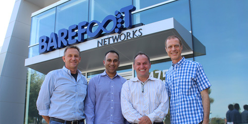 From the left, outside the Barefoot Networks headquarters in Santa Clara following the acquisition announcement: Nick McKeown, co-founder, chief scientist and chairman of Barefoot Networks; Navin Shenoy, Intel executive vice president and general manager of the Data Center Group; Bob Swan, Intel chief executive officer; and Craig Barratt, Barefoot Networks CEO. (Picture courtesy of Barefoot Networks.)