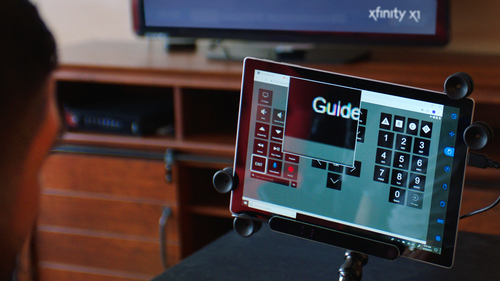 The new capability for X1 is enabled by a web-based remote for tablets and computers that pairs with existing eye gaze systems and other types of assistive technologies. 