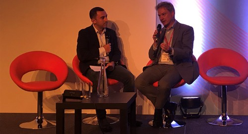 PP Foresight's Paolo Pescatore (left) and Openreach's Clive Selley talk fiber at this week's Connected Britain event in London.