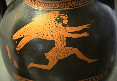 Boreas, purple-winged god of the north wind, leaps into action.  Image courtesy of Carole Raddato on Flickr.