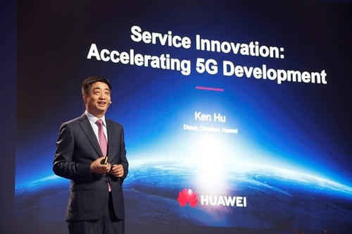 Huawei Deputy Chairman Ken Hu speaks at MWC Shanghai 2019.