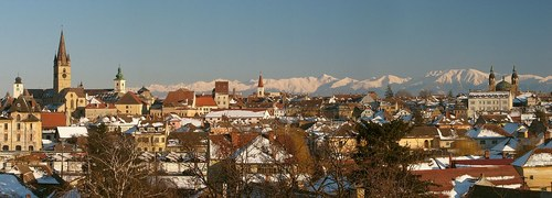 The medieval city of Sibiu in central Romania.