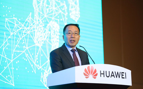 Huawei's Victor Zhang speaking at at innovation event in Uzbekistan last year.