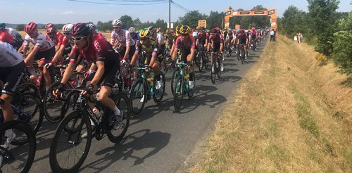 The peloton whizzes past on a section of the Albi-to-Toulouse stage that was eventually won by Australia's Caleb Ewan.