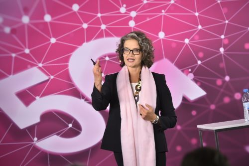 Claudia Nemat, Deutsche Telekom's board member for technology, speaks at a 5G 'launch' event in July.
