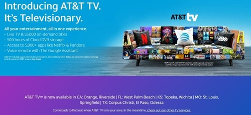 The initial batch of test markets for AT&T TV appeared temporarily on Sunday (August 18), ahead of an official announcement from AT&T that was made Monday morning. 
