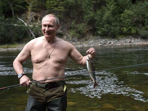 Russia's increasingly Tsar-like Vladimir Putin lacks the kingly physique for these photos, but no one in Russia dares tell him.
