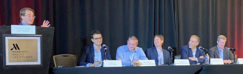 Panelists have a chuckle at the Network Virtualization & SDN Americas conference in Dallas. From left: Heavy Reading's Sterling Perrin, Bell Canada's Wadah Ely, Frontier Communications' Scott Irwin, Orange Business Services' John Isch, MEF's Rami Yaron and Fortinet's Scott Arnett.