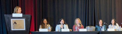 (L to R) Kelsey Ziser, Light Reading; Vibha Chhatwal, Fujitsu; Prajakta Joshi, Google Cloud; Amy LaFebre, Verizon; Sue Rudd, Strategy Analytics; Christina Cheng, AT&T Business. Photo by Mitch Wagner, Light Reading.