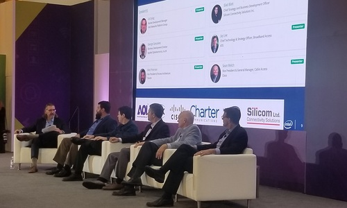 Left to right: Ed Dylag, Intel; Matt Petersen, Charter; Elad Blatt, Silicom; George Goncalves, Applied Optoelectronics; Sean Welch, Cisco; and Jay Lee, ATX Networks.
