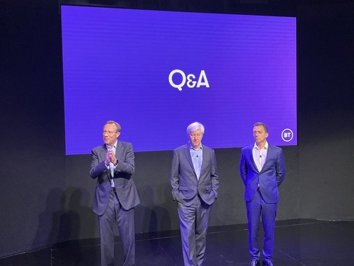 CEO Philip Jansen (left) stands next to Gerry McQuade (middle) and Marc Allera, the respective heads of BT's business and consumer divisions, at a recent press event.