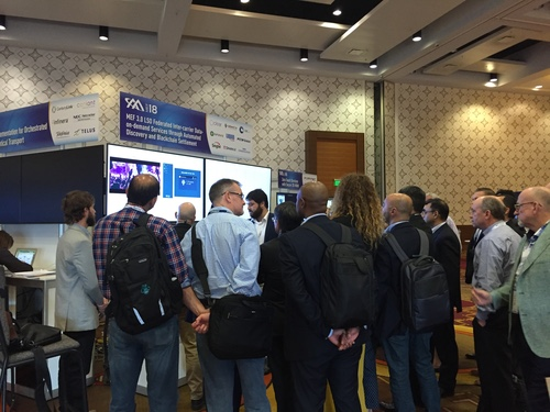 Crowds gathering around proof-of-concept displays at MEF18 in Los Angeles last month.