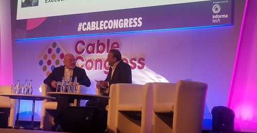 Matthias Kurth (left), executive chairman of Cable Europe, and Manuel Kohnstamm, president of Cable Europe and an exec with Liberty Global, announced some of the broad aims and goals for GIGAEurope this morning during the kickoff of Cable Congress 2019.