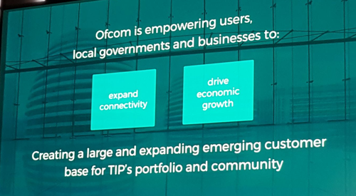 Ofcom sees a synergy between its private networks strategy and TIP's efforts.