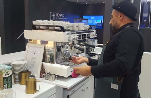 Barista-in-residence Ali Bayram delivered coffee of quality at the Adtran stand during the Broadband World Forum event.