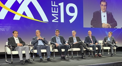 (L to R) Mehmet Toy, Verizon; Daniele Mancuso, Sparkle; Jeremy Wubs, Bell Canada; Bob Victor, Comcast Business; Jay Turner, PCCW; and Sterling Perrin, Heavy Reading.