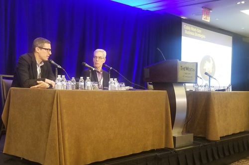In his chat with Light Reading's Alan Breznick, Starry's Alex Moulle-Berteaux (left) said the startup doesn't plan to bundle OTT video services with its fixed wireless broadband offering.