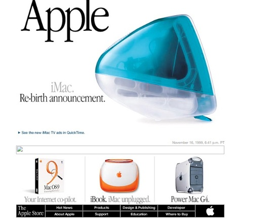 Back when Apple was all about the colorful iMac, and there would nary be an iPod, iPhone, iPad in sight for years to come.