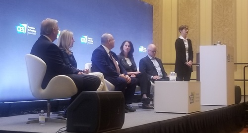 Execs from top TV makers and broadcast TV organizations were here to chat up 'NextGen TV.' (Left to right: John Taylor, LG Electronics; Anne Schelle, Pearl TV; Dan Schinasi, Samsung Electronics; Madeleine Noland, ATSC; Sam Matheny, NAB; and Myra Moore, Digital Tech Consulting)