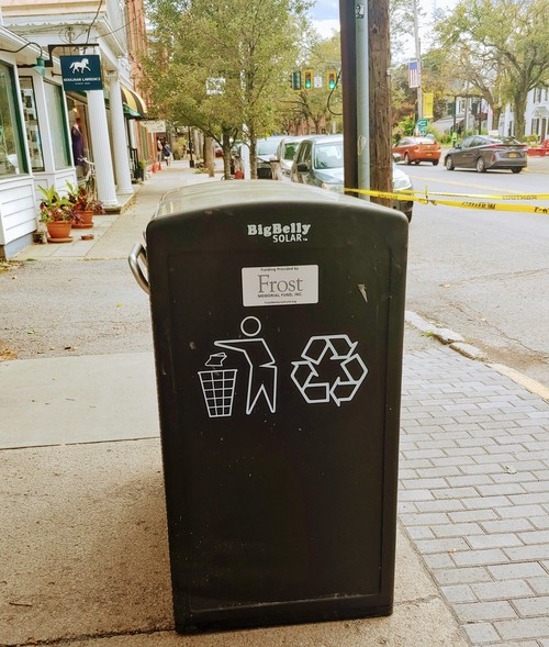 Big Belly solar trash bins spotted in Rhinebeck, New York this fall.