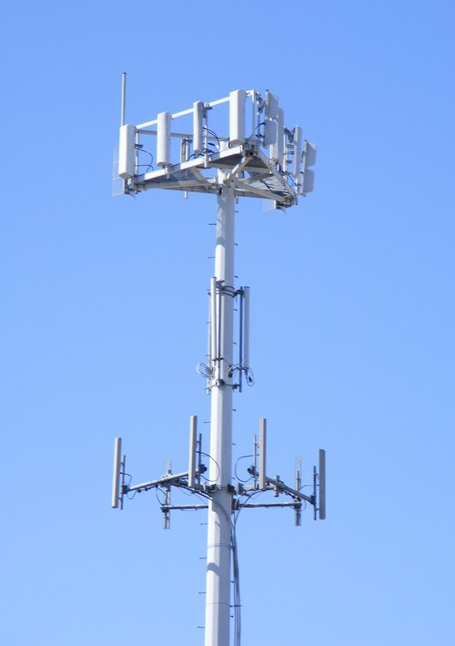 A standard macro cell site is difficult to ignore.(Source: J.smith at English Wikipedia)