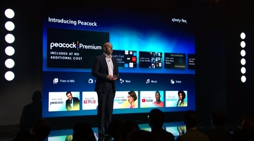 Matt Strauss demonstrated the Peacock app for Comcast's Xfinity Flex streaming service for broadband-only customers.