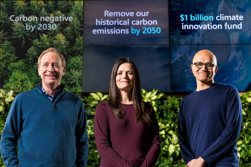 Microsoft President Brad Smith, Chief Financial Officer Amy Hood and CEO Satya Nadella preparing to announce Microsoft's plan to be carbon negative by 2030.