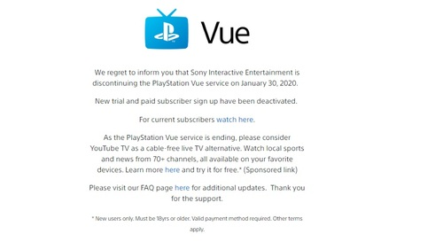 PlayStation Vue provided a sponsored link to YouTube TV to help customers find a new OTT-TV as the Sony-owned service was nearing shutdown.