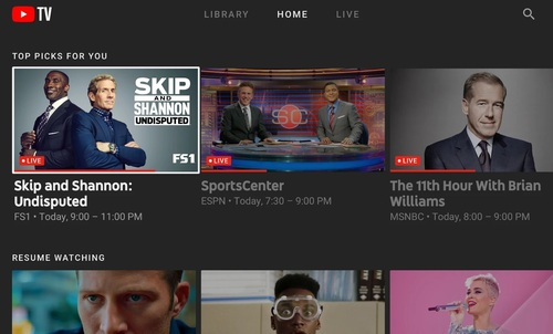 Available on multiple streaming platforms, YouTube TV starts at $50 per month and features more than 70 live channels, a VoD library and a cloud DVR.