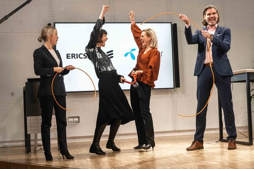 From left to right: Jenny Lindqvist, head of Northern and Central Europe, Ericsson; Kaaren Hilsen, CEO, Telenor Sweden; Asa Tamsons, SVP and head of business area technologies and new businesses, Ericsson; Andreas Kristensson, business innovation lead, Telenor Sweden