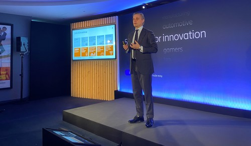 Fredrik Jejdling, Ericsson's head of networks, addresses reporters and analysts in London.