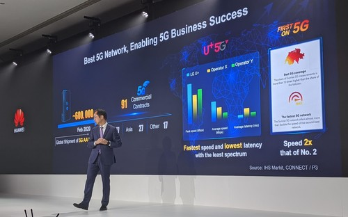 Huawei's Ryan Ding present's his company's 5G vision in London.