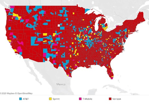 Tutela measured operators by the best signal strength they provide, noting that most of the country is covered with the best signal by Verizon, while AT&T maintains a strong presence in some regions. (Source: Tutela)