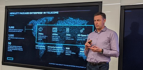 Phil Mottram, HPE's VP of communications and media solutions, counts how many cloud-native 5G core functions the vendor has developed.
