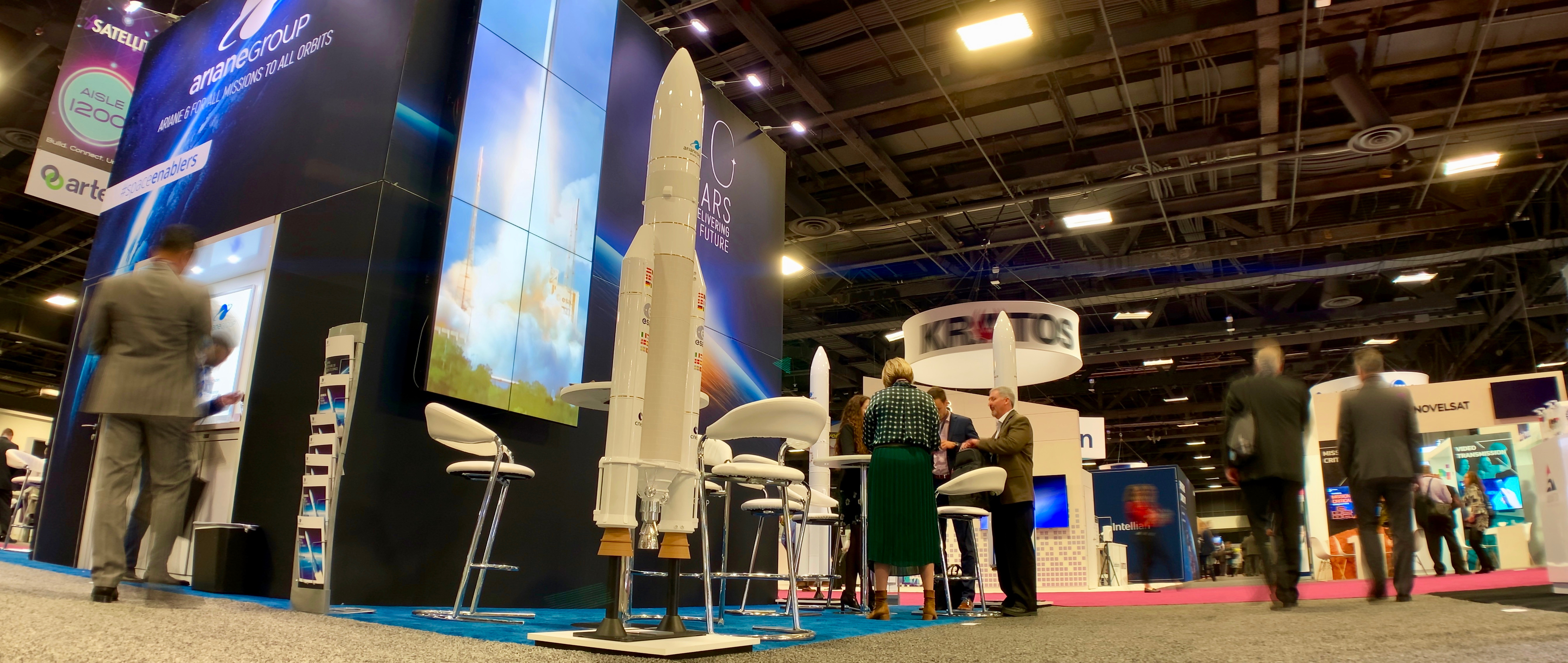 The ArianeGroup's stand was decorated with rockets that did not dispense coffee and did not heat cinnamon rolls. And you should have seen the puzzlement on their faces as I made those two very specific inquires.