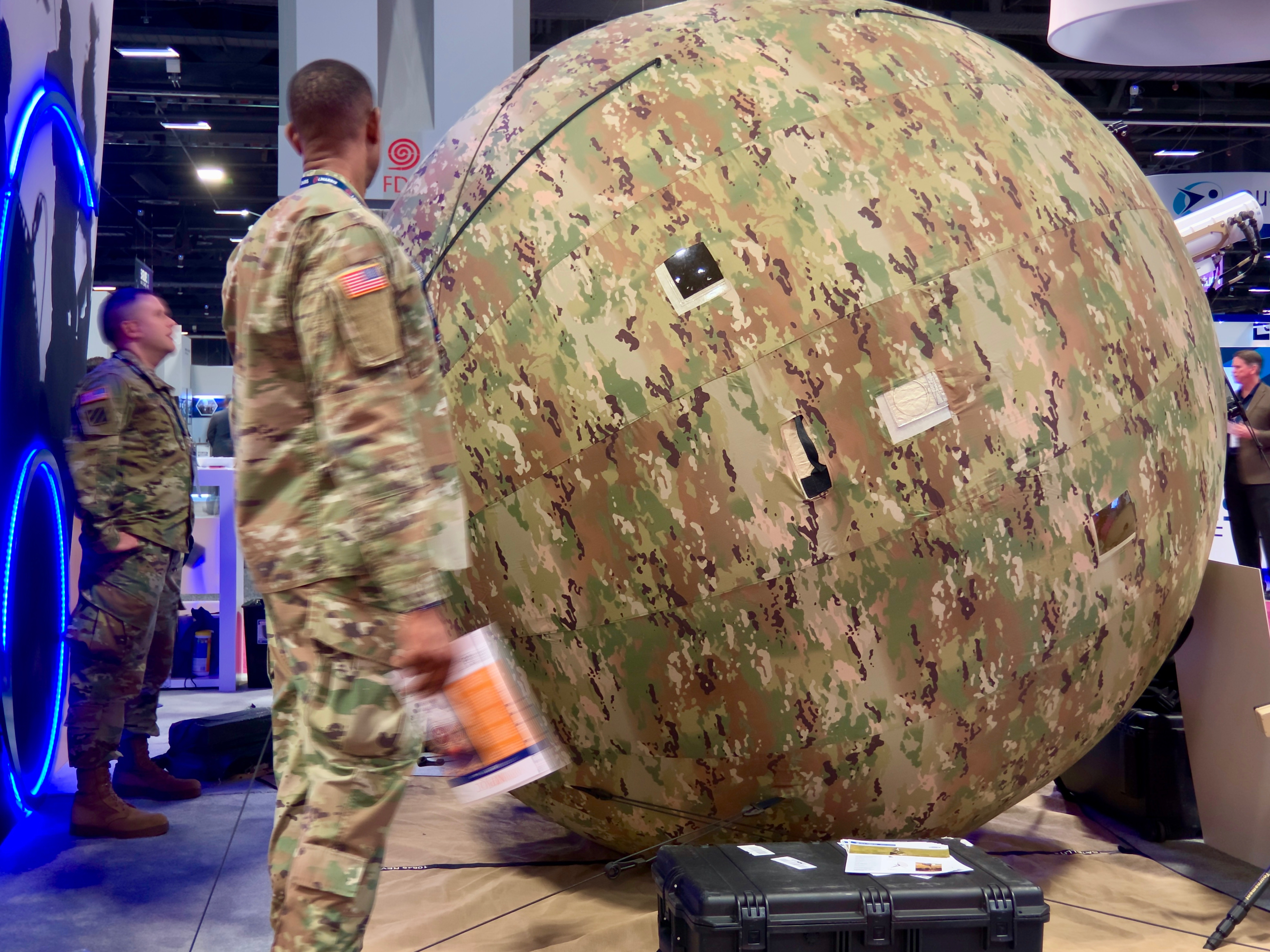 A company called Cubic showed off inflatable satellite antennas that the military uses for quickly setting up network communications with a satellite in remote areas.