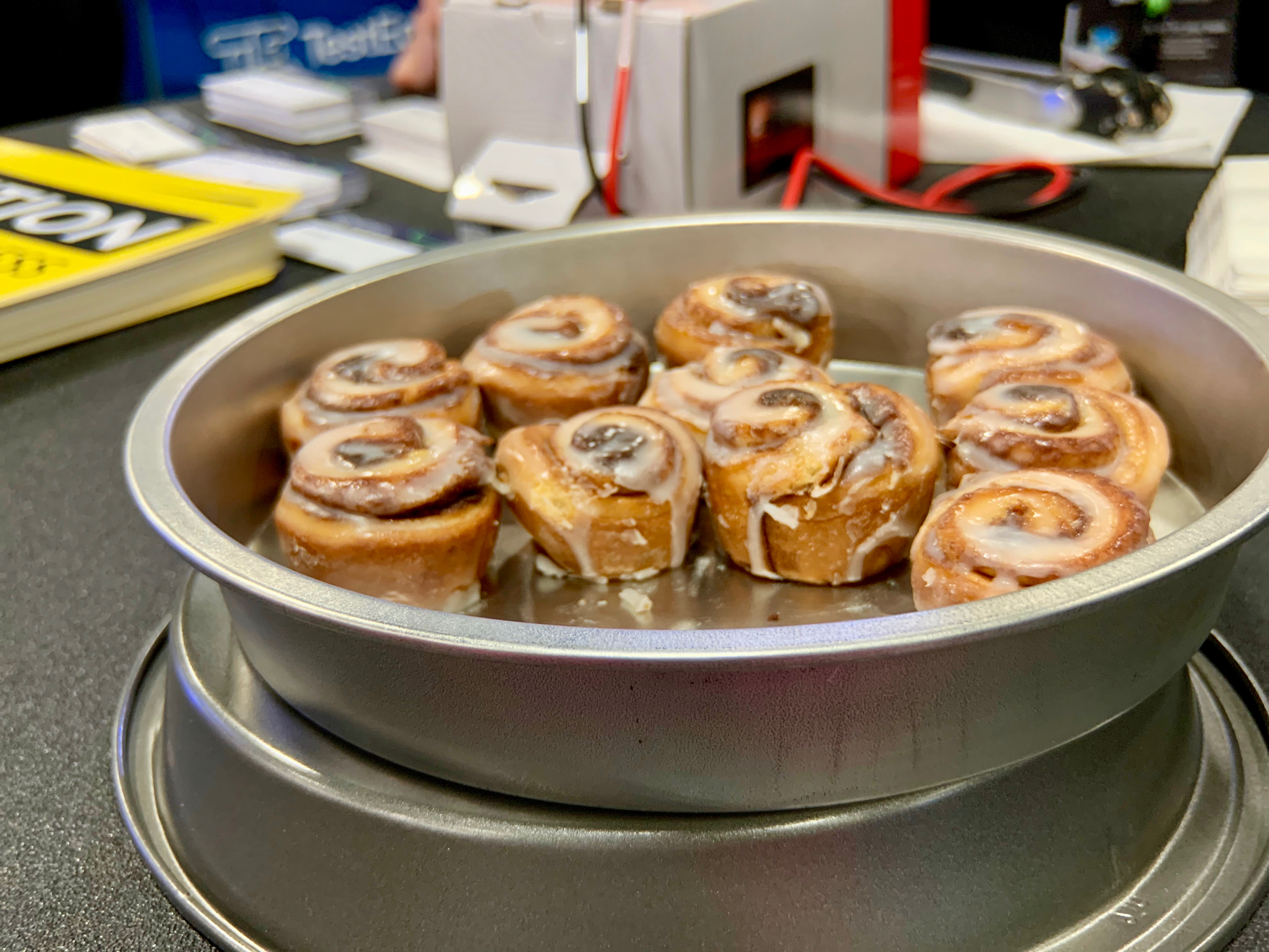 The folks at TestEquity, a satellite tech testing company, provided these delicious cinnamon rolls for show-goers.