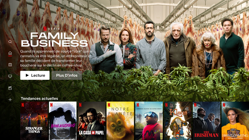Netflix offers service across Europe. Pictured is an example of its UI for France.