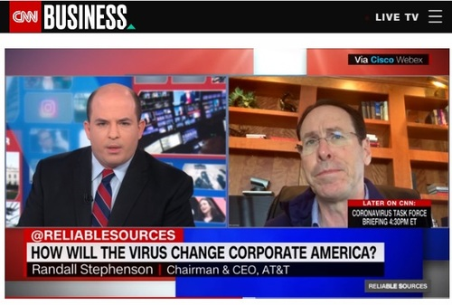 AT&T CEO Randall Stephenson (right) spoke with CNN's Brian Stelter Sunday to offer an update on the company's response to the COVID-19 crisis.   (Image source: CNN)