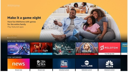Amazon said more than 100 content partners are involved with the US debut of its curated #AtHome offering.