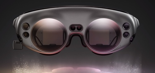 The Magic Leap 1 'Lightwear' headset. Users pair the AR goggles with Magic Leap's 'Lightpack' computing pack and a handheld controller.