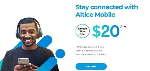 Altice USA has reintroduced a $20 per line promotional price on a mobile service it launched in September 2019.