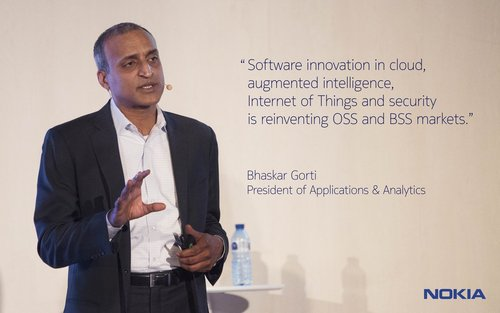 Nokia's Bhaskar Gorti speaking at a capital markets day event in 2016.