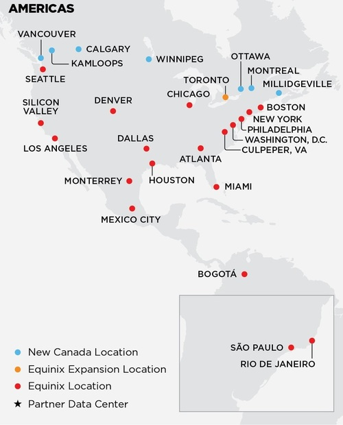 Equinix reported that its data centers cover a wide range of locations in the Americas. Click here for a larger version of this image. (Source: Equinix)