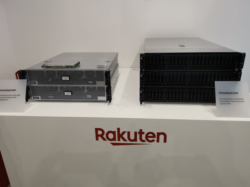 Fig. 2: QCT hardware on display at the Rakuten Mobile Booth during MWC Barcelona 2019.
