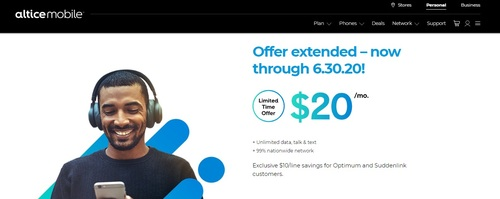 Altice USA's aggressive mobile promotion has returned.