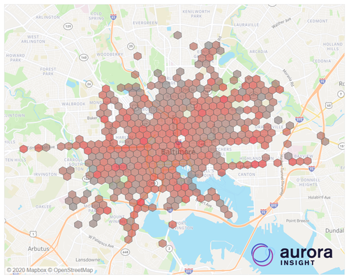 Aurora Insight measured an extensive mmWave 5G network by Verizon in Baltimore. Click here for a larger version of this image. (Source: Aurora Insight)