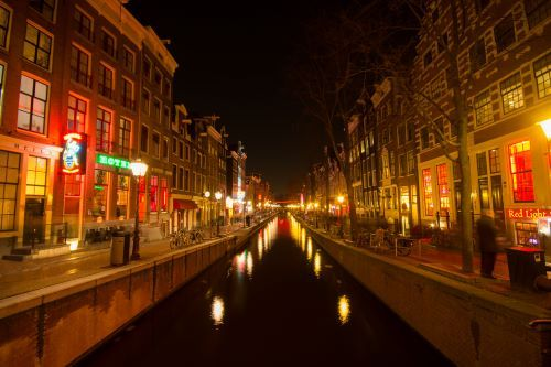 Amsterdam's famous red-light district is near the city center.