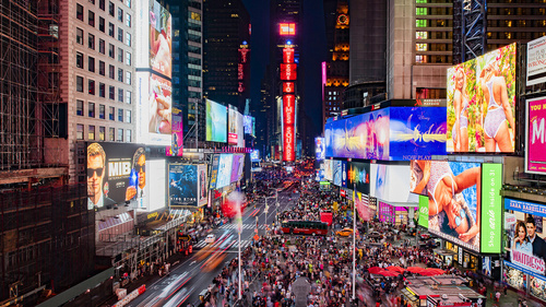 Show off: Samsung's display screens - here in action in Times Square - boosted Q2 2020. Picture source: Samsung
