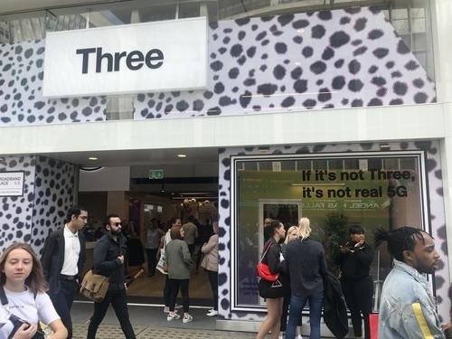 Three's store on London's Oxford Street, pre-coronavirus.
